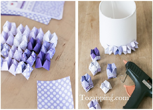 Una lámpara decorada con origami