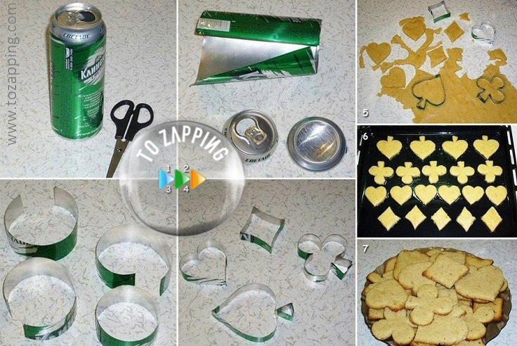 Moldes de galletas con latas de refresco