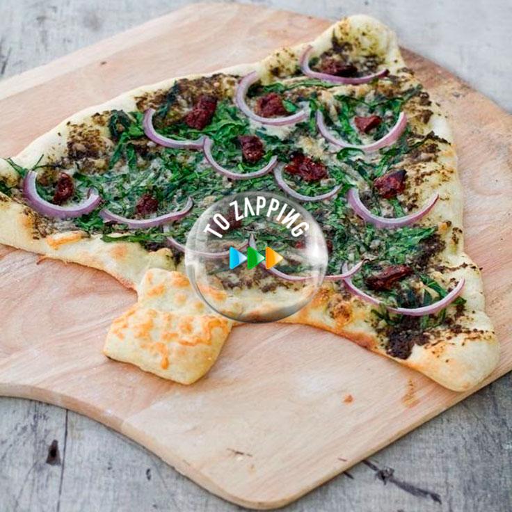 Pizza Con Forma De Árbol De Navidad
