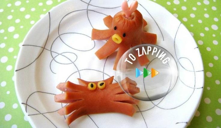 Pulpos y cangrejos con salchichas