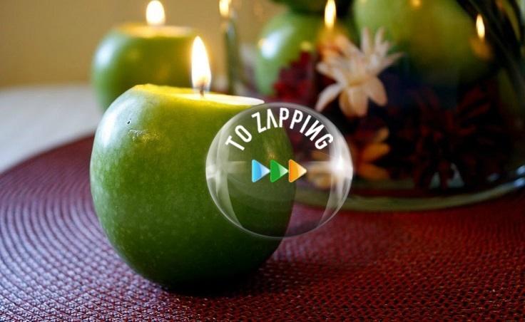 Centro de mesa con manzanas