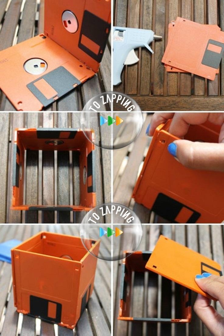 Cómo hacer macetas con disquetes reciclados