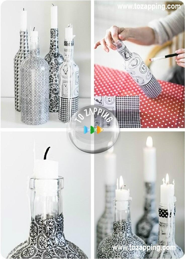 Diy vaso y botellas convertido en porta velas