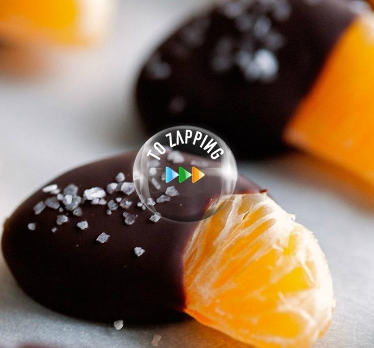 Gajos de mandarina con chocolate