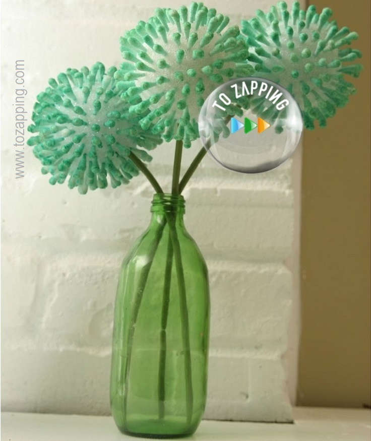Flores hechas con bastoncillos de algodón