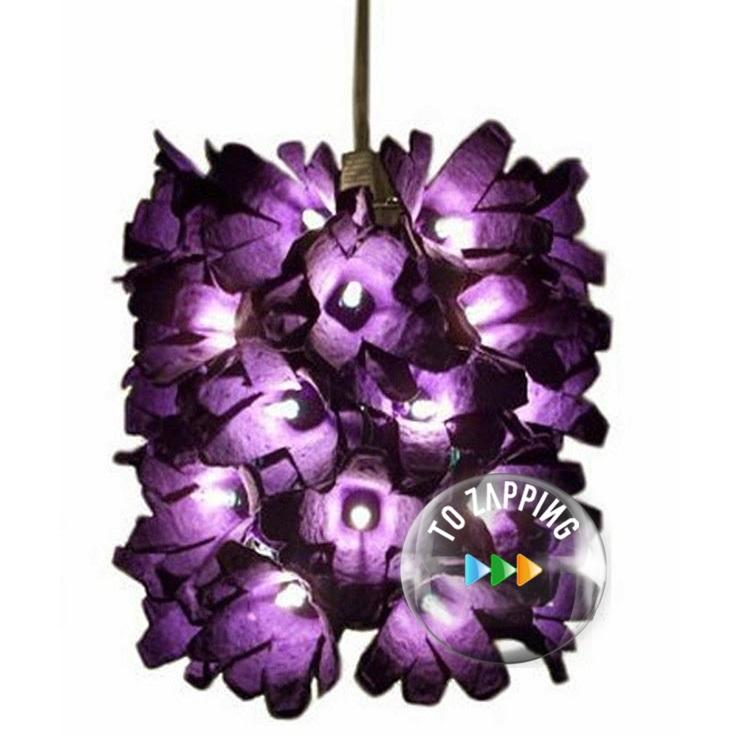 Lámpara hecha con hueveras