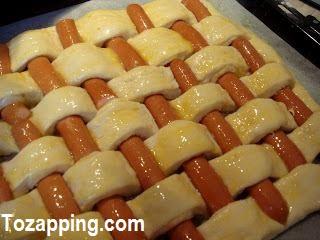 Cuadros de pan con salchicha