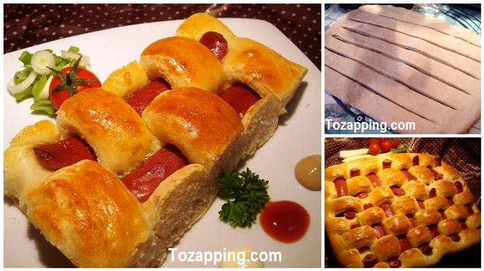 Receta cuadros de pan con salchicha