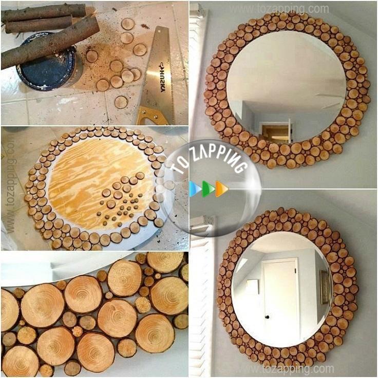 C mo hacer espejos hecho de tronco for Espejo redondo pequeno