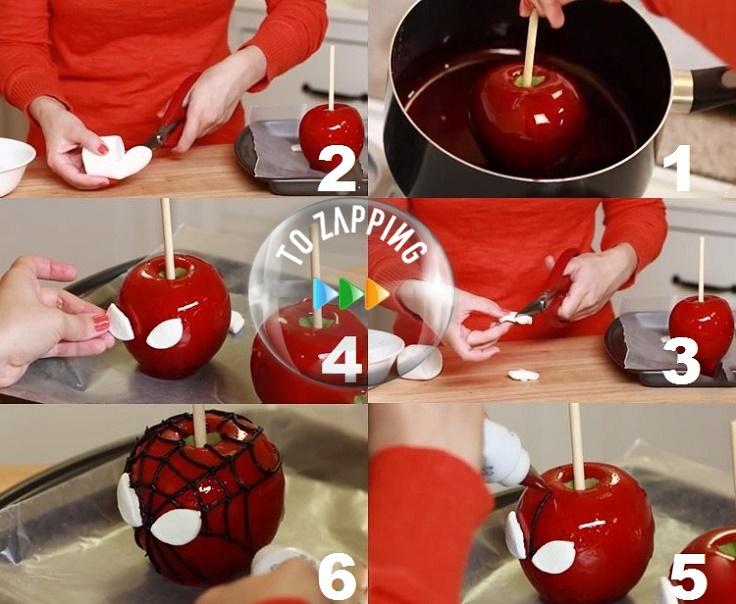 Manzanas de caramelo de Spiderman