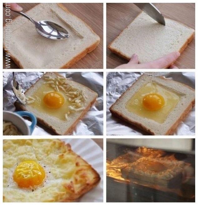 Tostada de huevo y queso