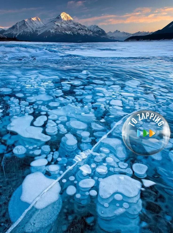 Las burbujas congeladas del Lago Abraham