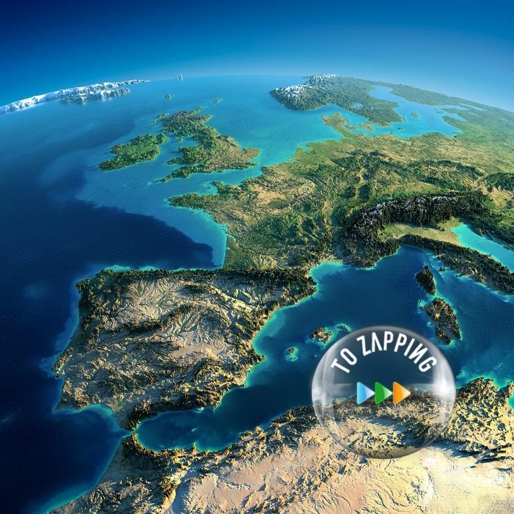 Península Ibérica con luz de día
