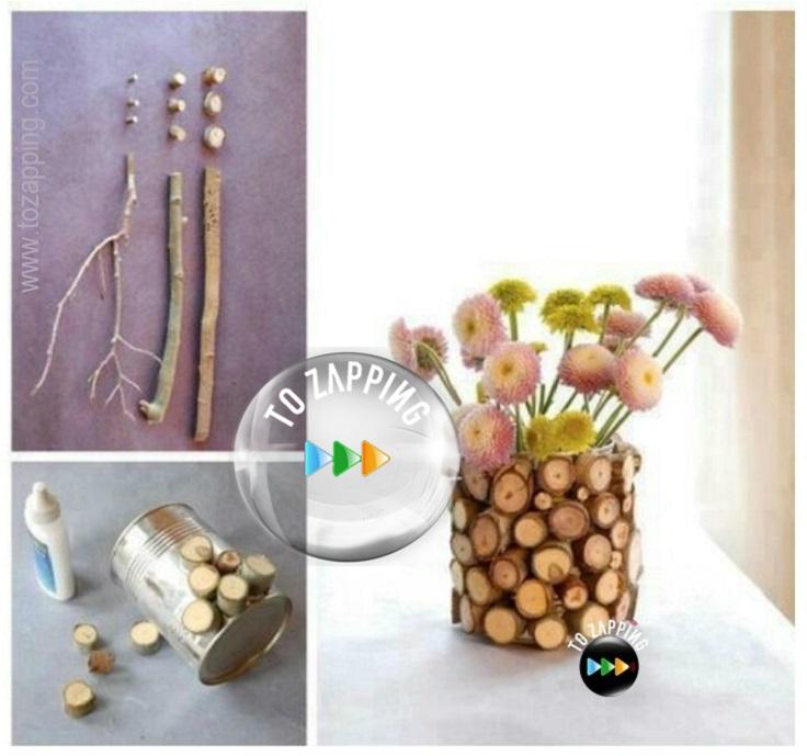 Cómo decorar macetas con madera