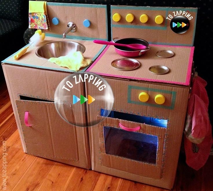 C mo hacer una cocina con cajas de cart n tozapping - Cajas de carton bonitas ...