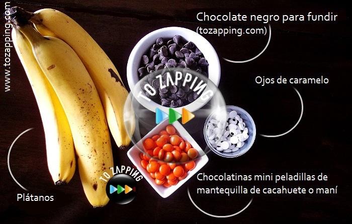 Pingüinos de plátano con chocolate