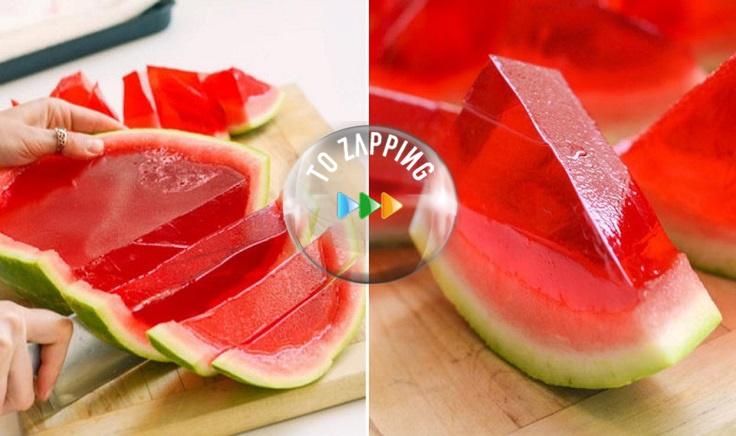 Postre de gelatina de sandia natural