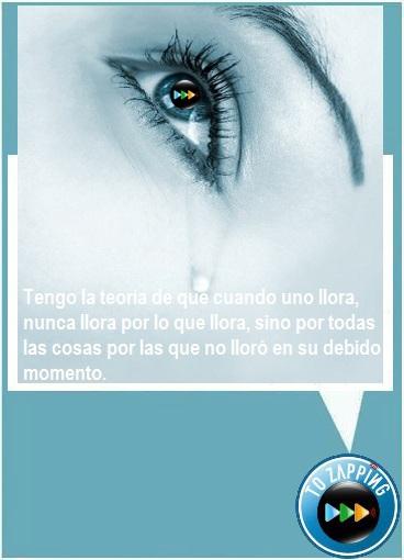 Tengo la teoría de que cuando uno llora, nunca llora por lo que llora, sino por todas las cosas por las que no lloró en su debido momento