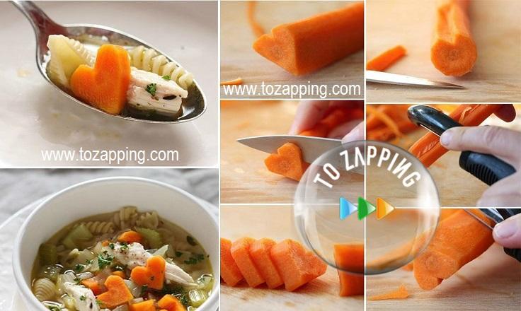 Sopa De Pollo Con Corazones De Zanahoria Y Verduras
