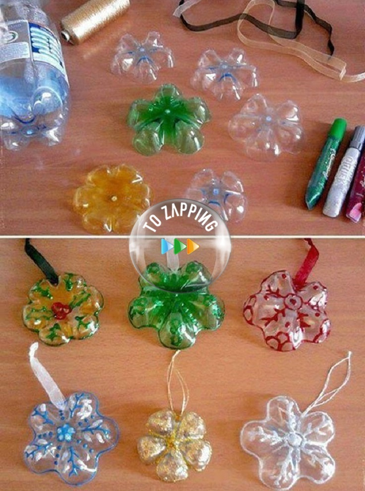 Adornos Para El Árbol Navideño Con Botellas De Plástico